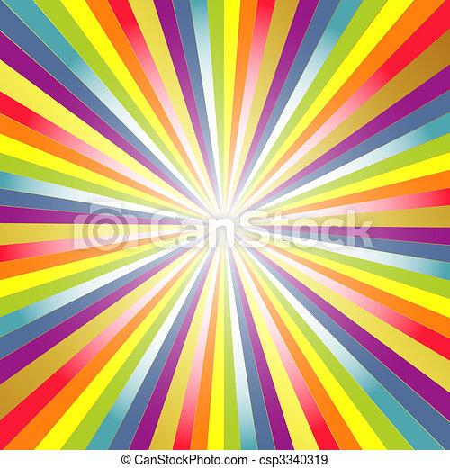 Rainbow  background with rays - csp3340319