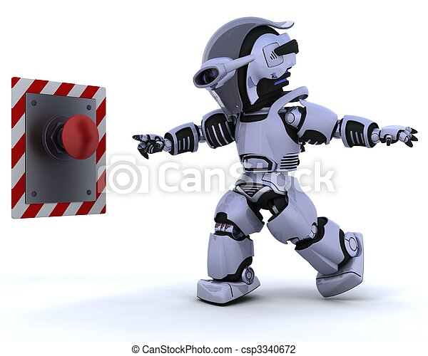 robot and push button - csp3340672