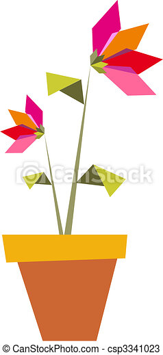 Two Origami vibrant colors flowers. - csp3341023