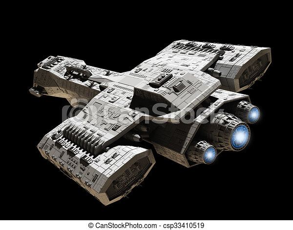 Spaceship on Black with Blue Engine - csp33410519
