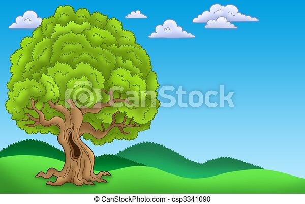 Stock de Ilustration de paisaje, grande, frondoso, árbol, -, Color ...