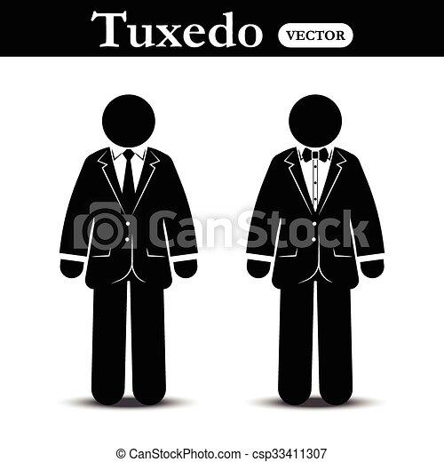 Vector Clipart of Business suit and Tuxedo suit ( stick man wear ...