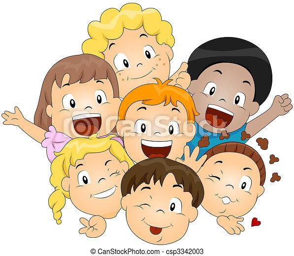 Dibujos de niños, feliz - feliz, niños csp3342003 - Buscar Clipart ...