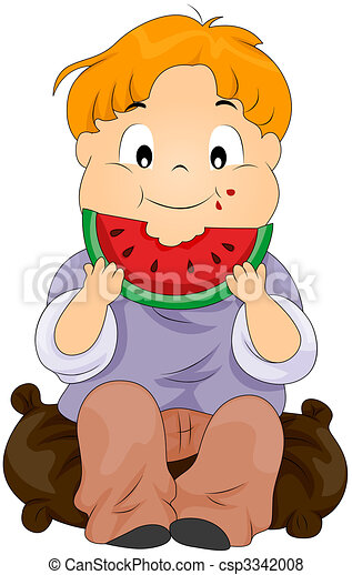 Child eating watermelon - csp3342008