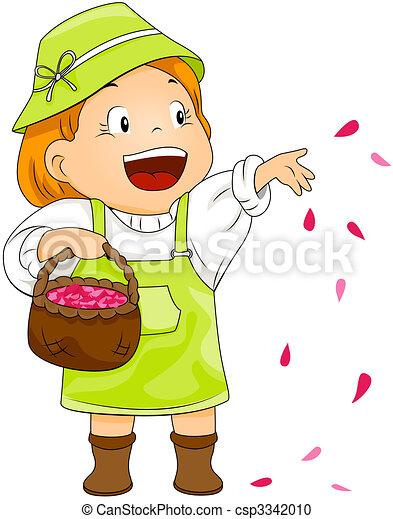 Child throwing Petals - csp3342010