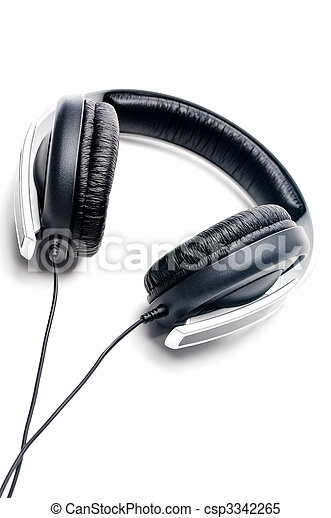 Tilted vertical image of silver colored headphones with black leather padding - csp3342265