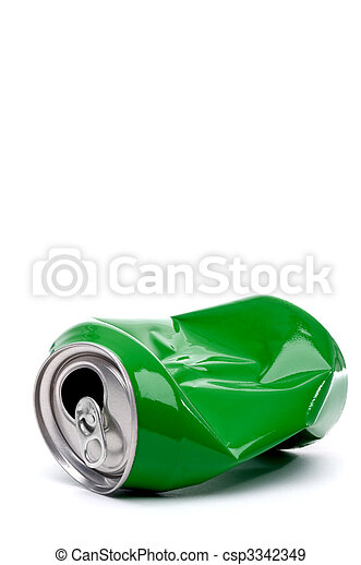 vertical close up of a green crushed aluminum drink can with copy space - csp3342349