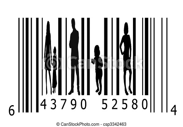 Bar code and people silhouettes - csp3342463