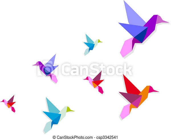 Group of various Origami hummingbirds - csp3342541
