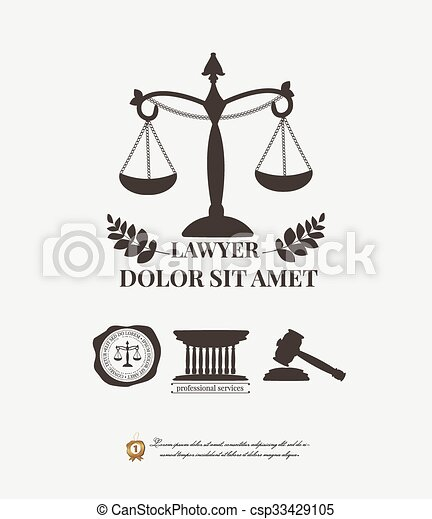 Vector Clipart of Law firm logos, lawyer weight and gavel ...