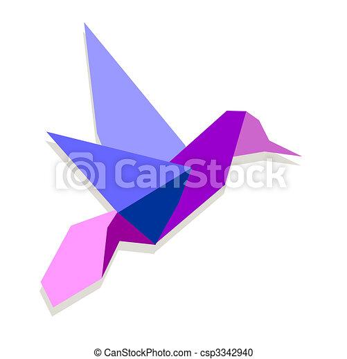 Vibrant colors Origami hummingbird - csp3342940