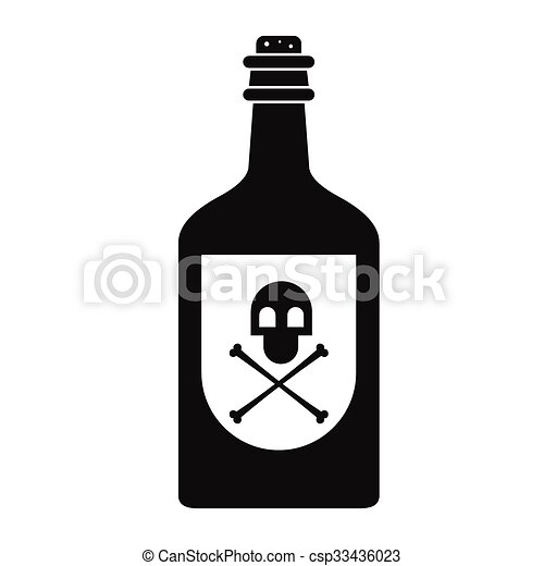 Vector Illustration of Poison bottle black simple icon isolated on ...
