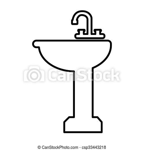 Vector clip art of bathroom sink line icon vector for Draw your bathroom