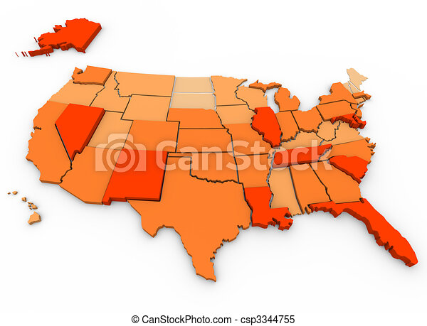 Violent Crimes Per Capita - U.S. Map - csp3344755