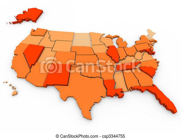 Violent Crimes Per Capita - U.S. Map - csp3344755