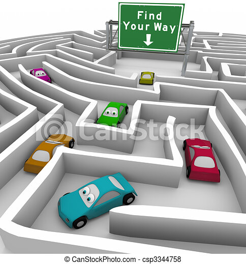 Find Your Way - Cars Lost in Maze - csp3344758