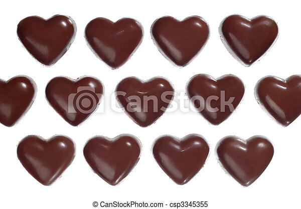 Heart-shaped dark chocolate candies - csp3345355