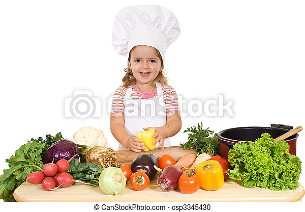 Happy little chef with vegetables - csp3345430