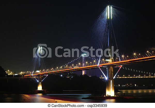 Ting Kau Bridge at night, in Hong Kong - csp3345939