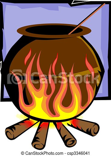 clay pot on fire - csp3346041