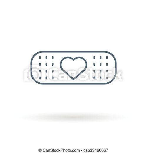 Clip Art Vector of Bandaid heart icon white background - Band aid ...