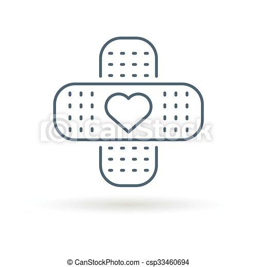 Bandaid heart icon white background - csp33460694