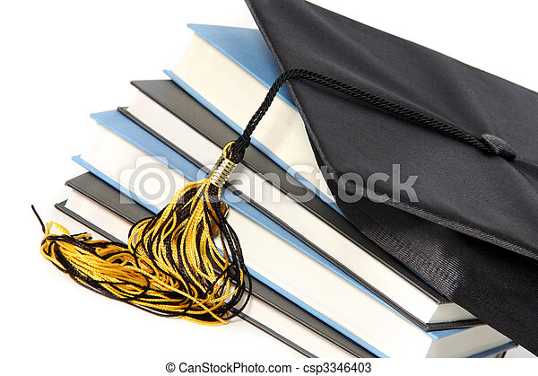 graduation cap and books - csp3346403