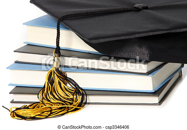 graduation cap and books - csp3346406