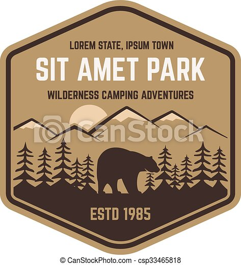 Clipart Vector of National park retro style badge. Mountain ...