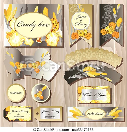 Clipart Vector of Candy bar wedding design set with iris flowers ...