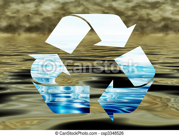 Recycling water, environmental concept, water pollution - csp3348526