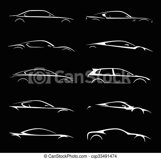 Vectors Illustration Of Super Car Set Silhouette Collection