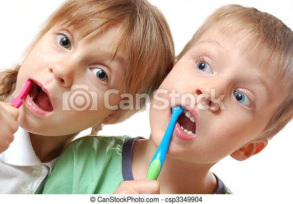 brushing teeth children - csp3349904
