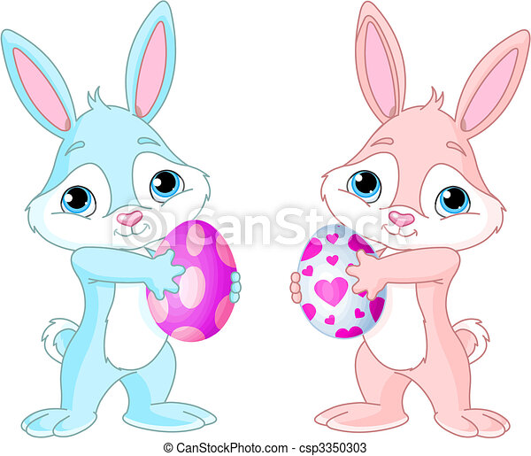 Easter Bunny with Easter Egg - csp3350303