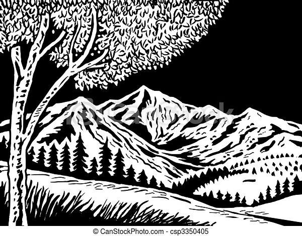 Mountain scene with tree in foreground doen in black and white - csp3350405