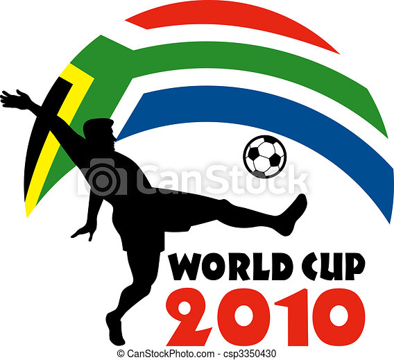 icon for 2010 soccer world cup with player kicking ball with flag of republic of south africa - csp3350430