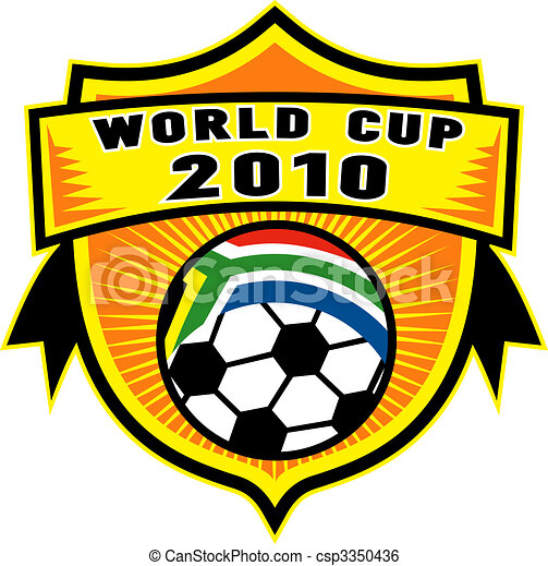 icon for 2010 soccer world cup with soccer ball with flag of republic of south africa inside a shield - csp3350436