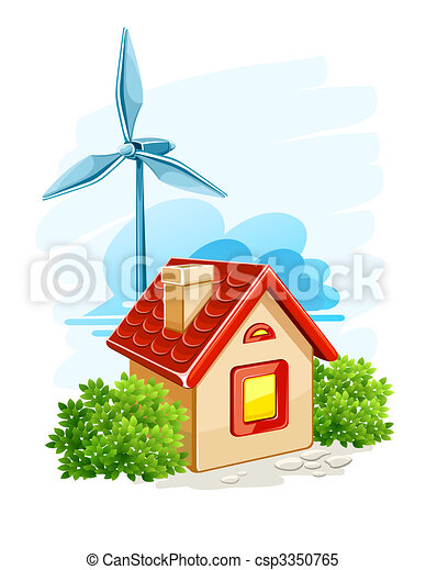 house with wind turbine for electric energy generation - csp3350765