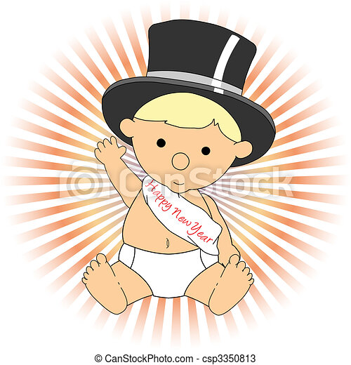 Baby New Year wearing hat sash waving adorable - csp3350813