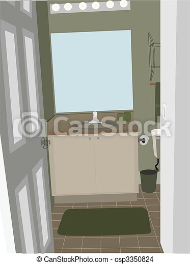 Bathroom at an angle with stylized accent objects - csp3350824