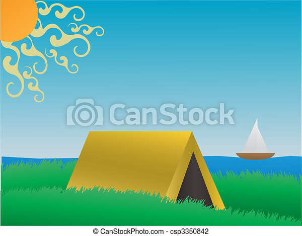 Camping on a grassy hill near lake daytime vector - csp3350842
