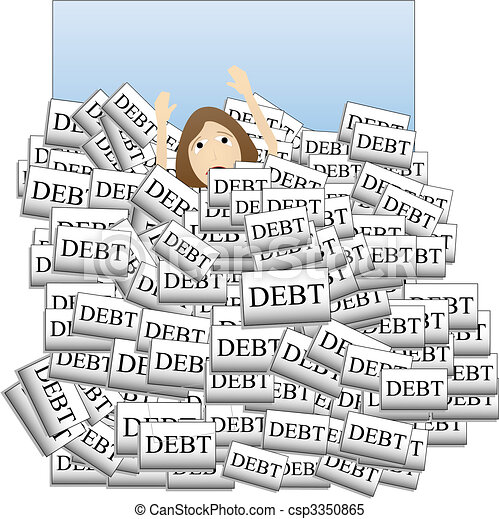 Drowning in Debt - csp3350865