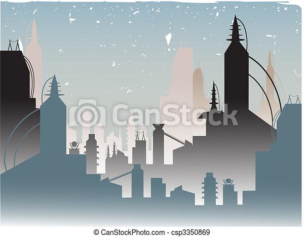 Glowing Fading Stylish Futuristic City - csp3350869
