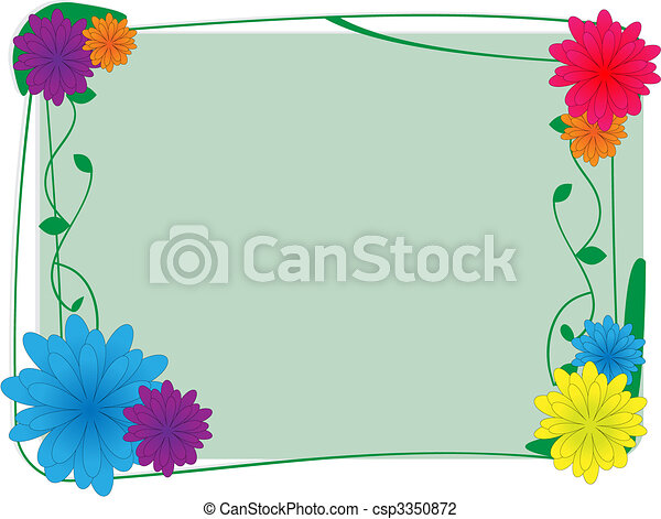 Flower and ivy border - Vector Background - csp3350872