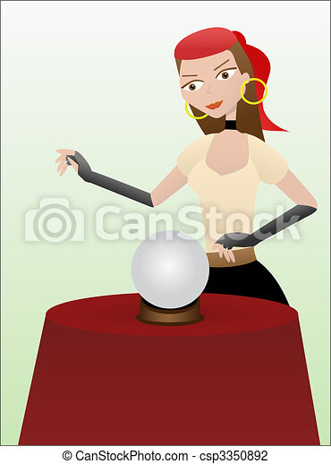 Fortune teller gypsy standing over crystal ball - csp3350892