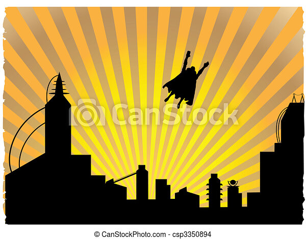 Silhouetted superhero flying off into the sunset - csp3350894