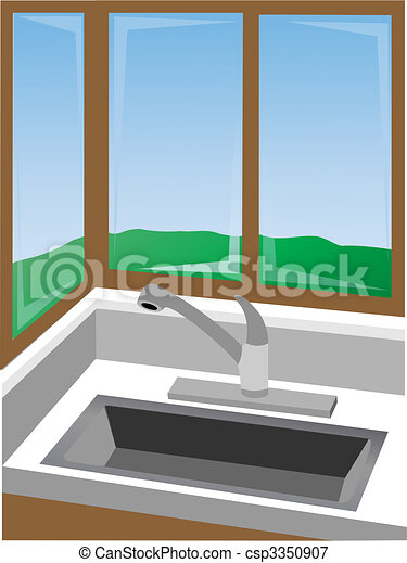 Kitchen corner at sink surrounded by win - csp3350907