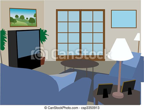 Modern fully furnished living room - csp3350913