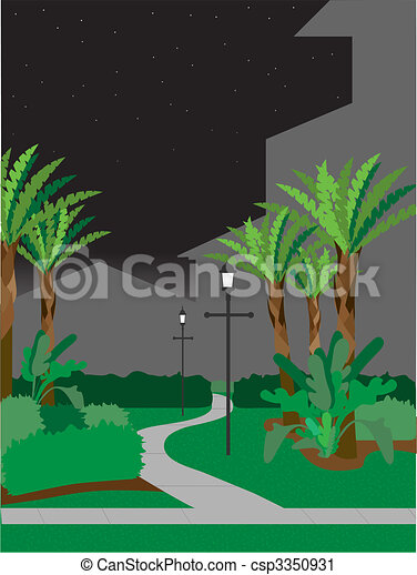 Walking pathway at night - csp3350931