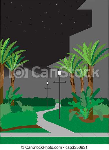 Walking pathway at night - csp3350931